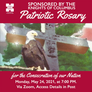 Graphic of an eagle for the Kinights of Columbus Patriotic Rosary that will be held via Zoom.